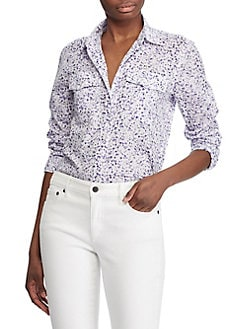 d3888978 Floral-Print Cotton Voile Shirt WHITE PURPLE. QUICK VIEW. Product image.  QUICK VIEW. Lauren Ralph Lauren