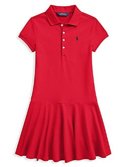 5777140ec Girl's Stretch Mesh Polo Dress RED. QUICK VIEW. Product image