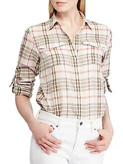 19845e2505e072 QUICK VIEW. Lauren Ralph Lauren. Petite Plaid Button-Up Shirt