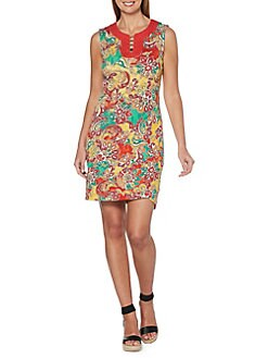 32e5291c Product image. QUICK VIEW. Rafaella. Petite Paisley Embellished Splitneck Sheath  Dress