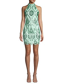ce7d8087743 QUICK VIEW. QUIZ. Embellished Highneck Bodycon Mini Dress