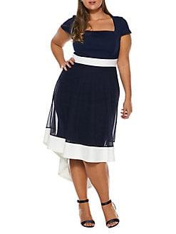9de8fafa52d8 Plus Squareneck Dip Hem Dress NAVY. QUICK VIEW. Product image