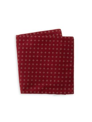 Image of Geometric-Print Cotton Pocket Square