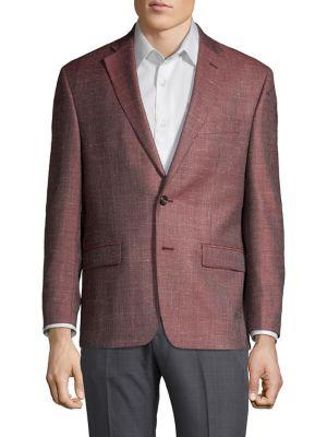 Windowpane Wool Blend Sportcoat by Tallia Orange