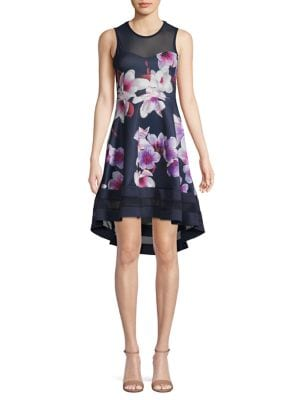 Image of Floral Mesh-Panel Fit-&-Flare Dress