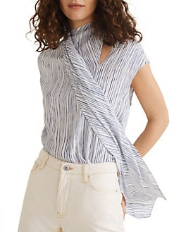 cf026883f9175c Striped Tie-Neck Blouse BLUE. QUICK VIEW. Product image