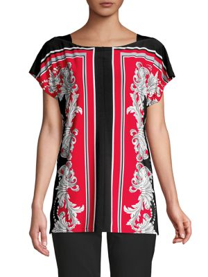Image of Scarf-Print Top