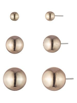 Image of Goldtone Ball Stud Earrings