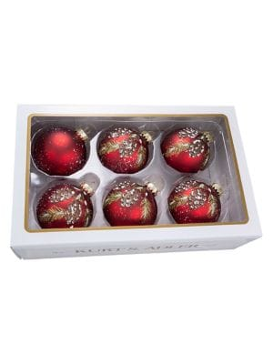 Image of Pinecone 6-Piece Glass Ball Ornament Set