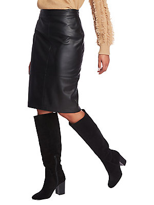 1.State Faux Leather Pencil Skirt -Black