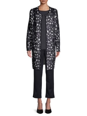Image of Printed Open-Front Cotton-Blend Sweater Coat