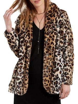 Image of Leopard-Print Faux Fur Coat