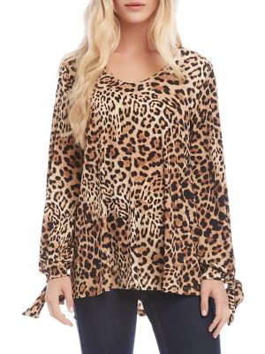 Image of Leopard-Print Long-Sleeve Top