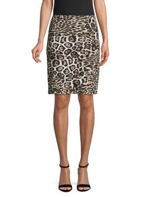 Image of Leopard-Print Pull-On Skirt