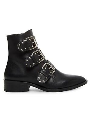 Steven By Steve Madden Heller Buckled Leather Booties -Black