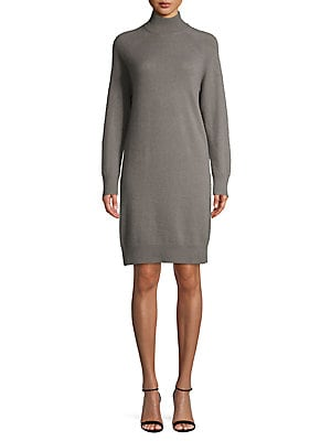 Lord & Taylor Mock Neck Cashmere Sweater Dress
