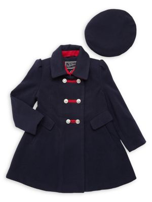 Image of Little Girl's 2-Piece Military Coat & Hat Set