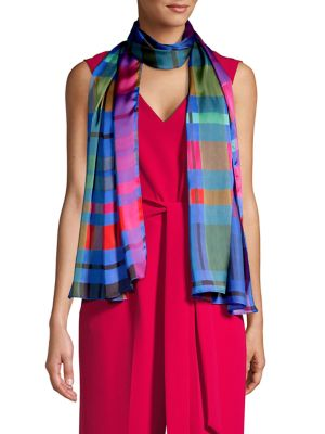 Image of Hand-Drawn Plaid Oblong Scarf