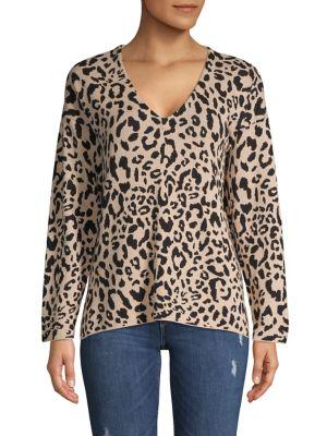 Image of Leopard-Print V-Neck Knit Tunic