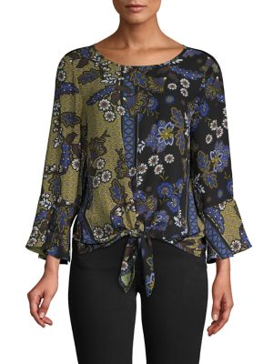 Image of Floral Bell-Sleeve Blouse