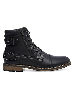 Madden Tellin Men's Faux Leather Ankle Boots (Black)
