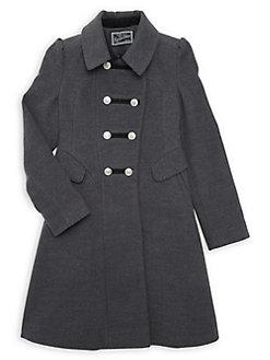 Grey Rothschild Girls Kids Ruffle Coat 6
