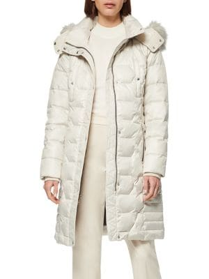 Image of Plymouth Quilted Faux Fur-Trim Down-Filled Coat
