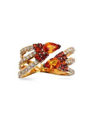 Image of 14K Yellow Gold, 0.45 TCW Diamond and Orange Sapphire Ring