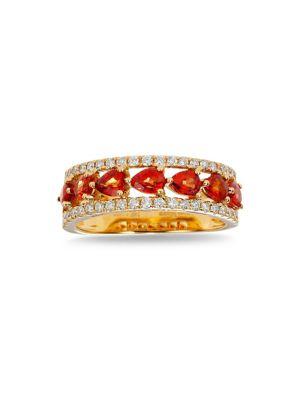 Image of 14K Yellow Gold, 0.35 TCW Diamond and Orange Sapphire Ring