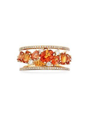 Image of 14K Yellow Gold, Orange Sapphire & 0.34 TCW Diamond Ring
