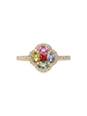 Image of 18K Yellow Gold, Diamond and Multi-Sapphire Ring