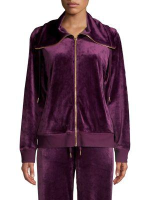 Image of Zip-Front Velour Jacket