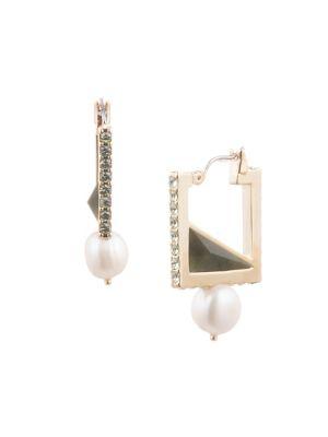 Image of Amelia Goldtone 10MM Freshwater Pearl & Semi Precious Stone Square Hoop Earrings