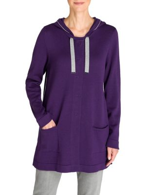 Image of Cosy Mood Hooded Cotton-Blend Cardigan