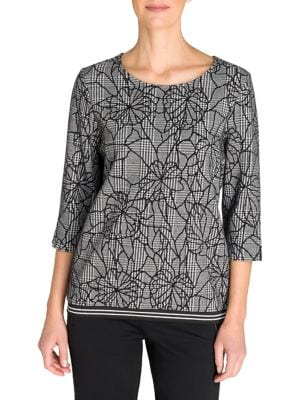 Image of Cosy Mood Floral Glen Check Cotton-Blend Top