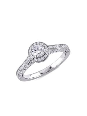 Image of 14K White Gold & 1 TCW Diamond Halo Vintage Engagement Ring