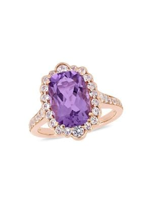 Image of Amethyst & White Topaz Cocktail Ring