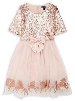 Rare Editions Christmas Holiday Gold Lace Bodice and Two-Tone Mesh Cascade Skirt