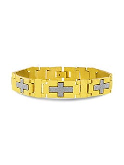 Ben Sherman 7.5 Rectangle ID Plate Curb Chain Link Bracelet for Men in Stainless Steel