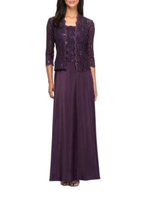 Two-Piece Lace Gown and Jacket Set by Alex Evenings