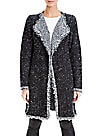 Max Studio Fringed Tweed-Style Long Cardigan