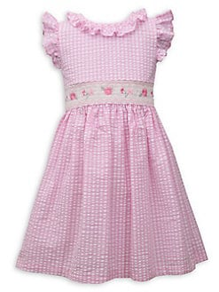 Toddler Baby Dress Girl Embroidery Rabbit Striped Princess Dress Outfits Clothes