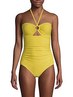 New Women/'s Crochet Cross Back Tankini Top Yellow size Large Swim