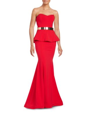 Belted Peplum Gown by Nicole Bakti