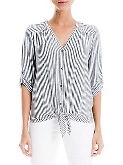 Max Studio London Womens Lace Sleeve Button Down Blouse