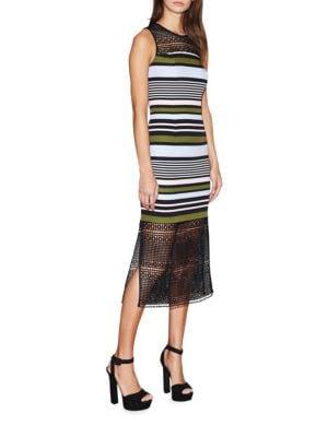 Stripe and Lace Midi Dress by Cynthia Rowley