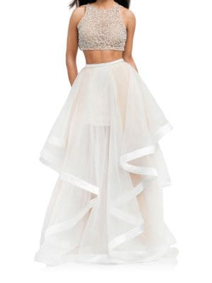 Beaded Crop Top 2-Piece Ballgown by Glamour by Terani Couture