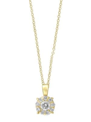Doro Diamond and 14K Yellow Gold Halo Pendant Necklace