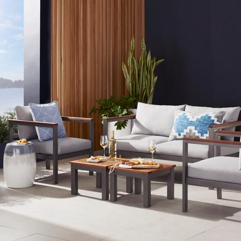 Patio with modern furniture and cushions