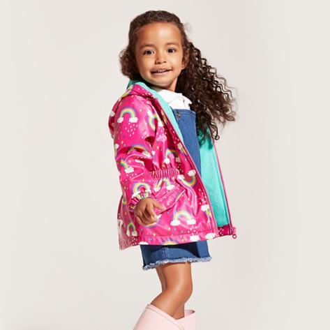 Girls' rain coat and pastel pink Hunter boots